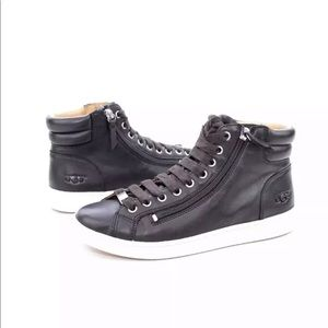 UGG OLIVE LEATHER BLACK HIGH TOP SNEAKERS SIZE 5